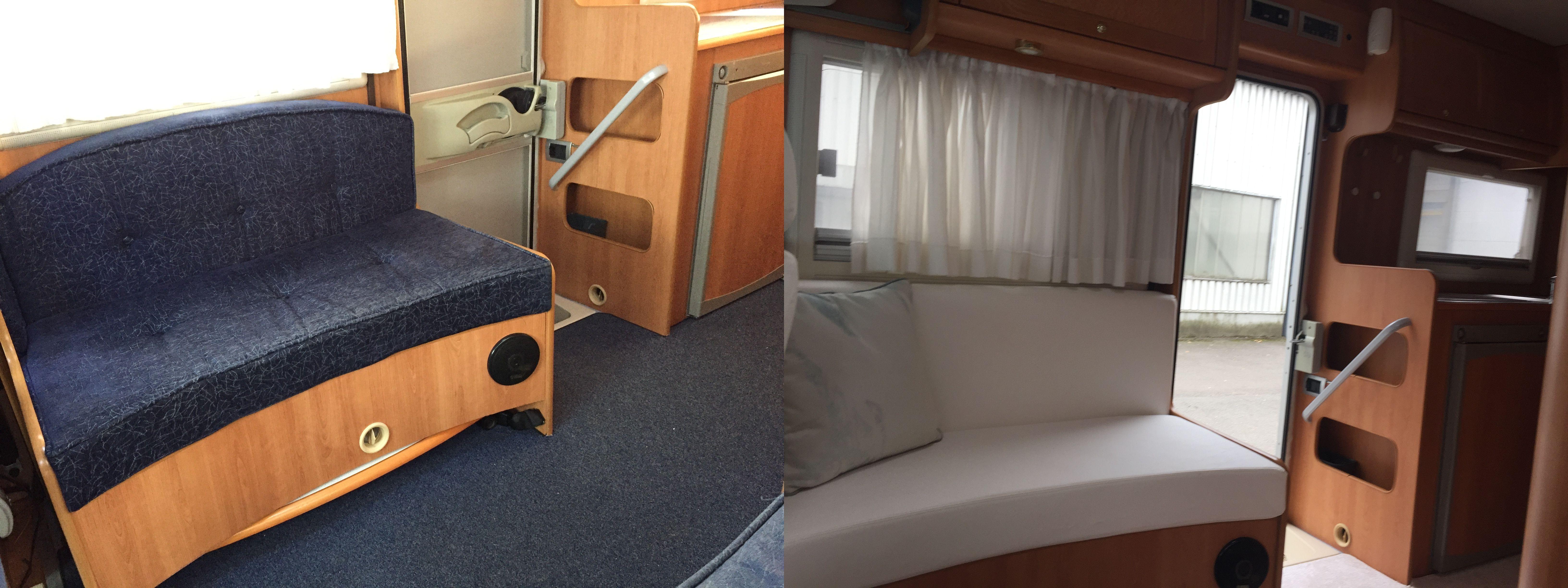 Stoffering kussens op maat maatkussens mobilhome caravan DD&B outdoor living